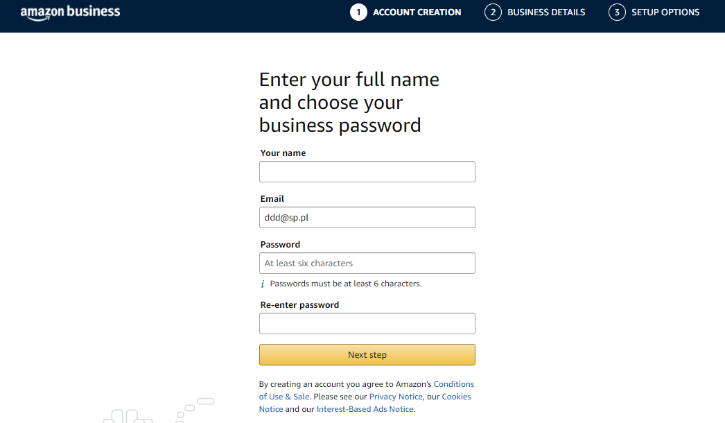 rejestracja Amazon